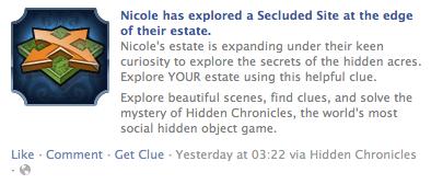 Facebook social feed from Hidden Chronicles