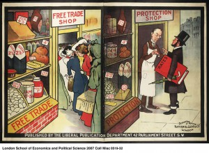 Image comparing a free-trade shop and a shop under protectionism