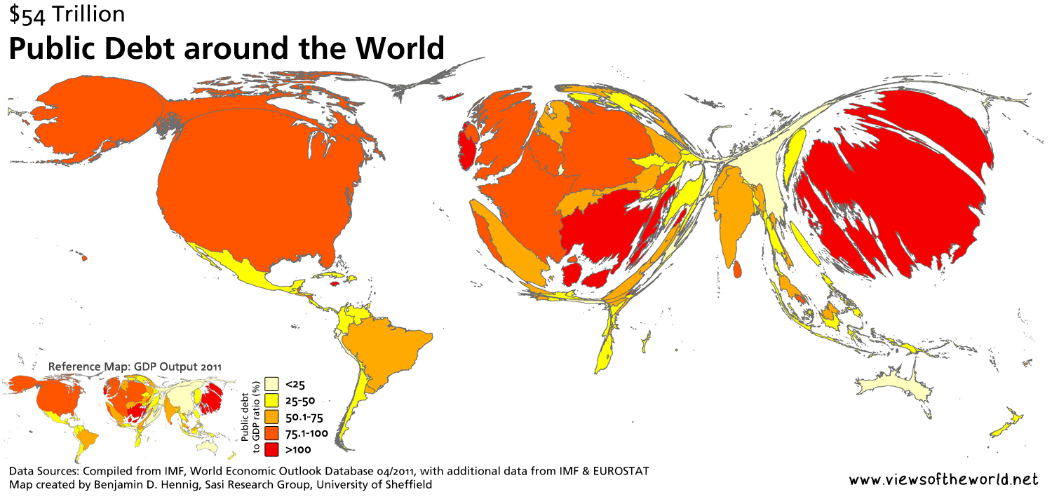 Map of The World Rescaled According to Public Debt
