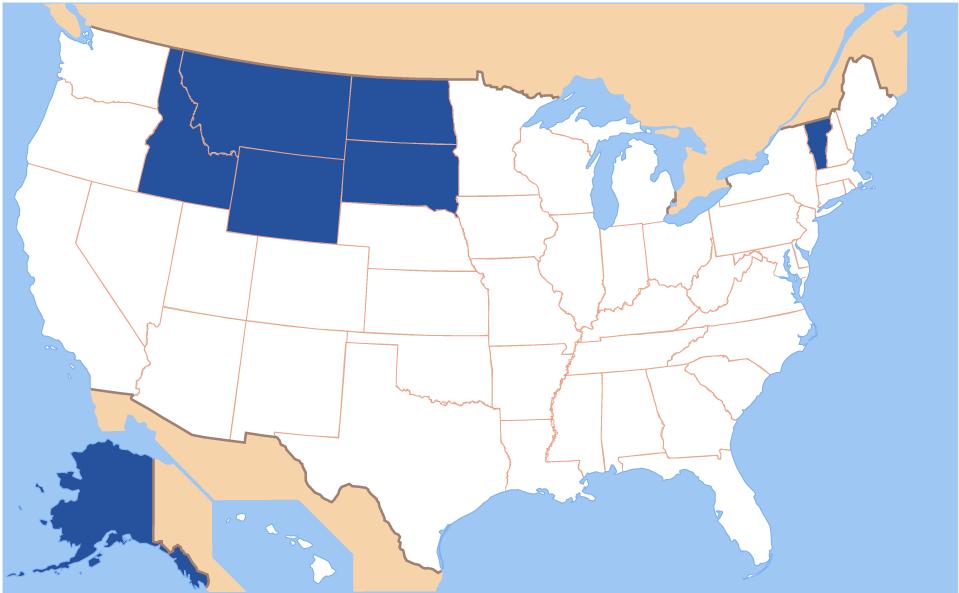 A map of the U.S. with ND, SD, MT, WY, VT, ID, and AK highlighted