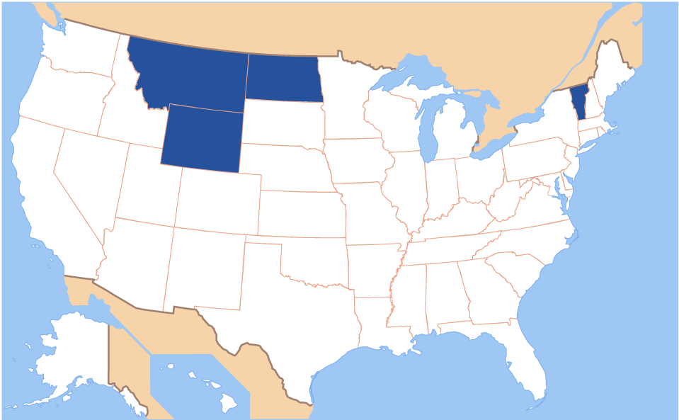 A map of the U.S. with North Dakota, Wyoming, Montana, and Vermont highlighted